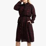 La Redoute Collections Plus Leopard Print Midi Shirt Dress with Tie-Waist