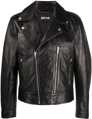 Just Cavalli Off-Centre Zip Up Biker Jacket