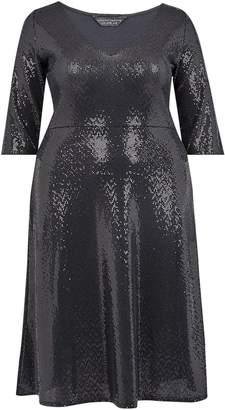 Dorothy Perkins Womens **Dp Curve Black Sequin Skater Dress, Black