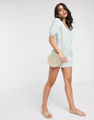 ASOS DESIGN seersucker lace up back romper in mint
