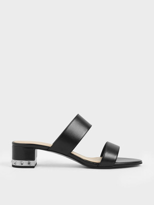 Charles & Keith Embellished Block Heel Metallic Slide Sandals