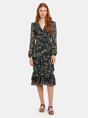 Saloni Alya Ruffled Silk Blend Lurex Midi Dress