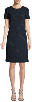 Lafayette 148 New York Short-Sleeve Wool Mini Dress