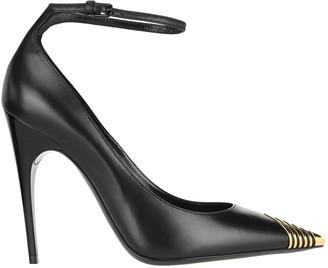 Saint Laurent Metal Detail Ankle Strap Pointed Toe Pumps