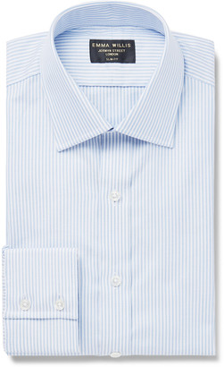 Emma Willis Sky-Blue Slim-Fit Pinstriped Cotton Oxford Shirt
