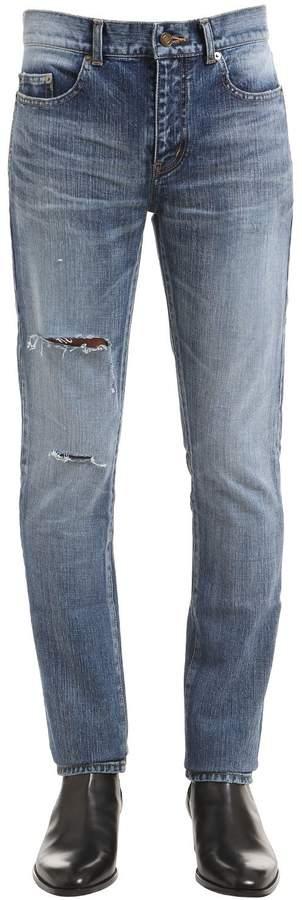 Saint Laurent 15.5cm Ripped Cotton Denim Jeans