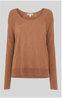 Whistles Scoop Neck Silk Mix Knit