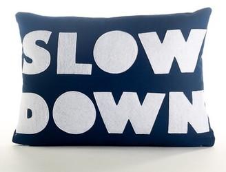 Alexandra Ferguson Good Advice Slow Down Throw Pillow Color: Navy Blue Canvas/White