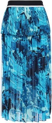 Victoria Victoria Beckham Victoria, Victoria Beckham Pleated Printed Satin Crepe-paneled Chiffon Midi Skirt