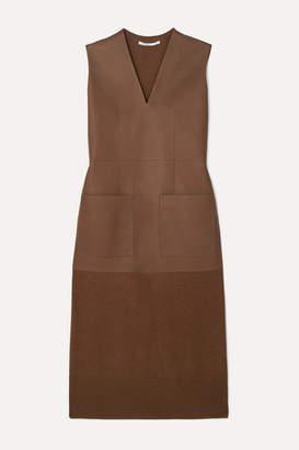 Agnona Leather And Cashmere Midi Dress - Brown