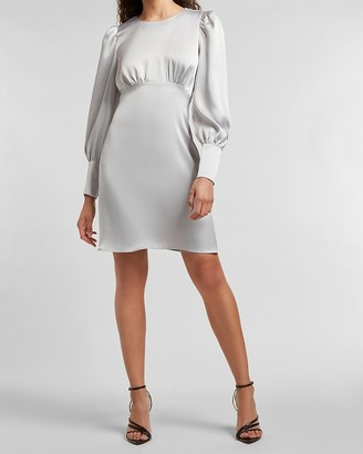 Express Satin Balloon Sleeve Empire Seam Dress