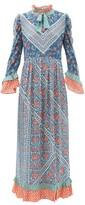 D'Ascoli Coromandel Printed Silk Dress - Womens - Blue Multi