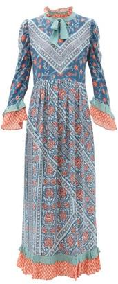 D'Ascoli Coromandel Printed Silk Dress - Blue Multi