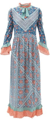 D'Ascoli Coromandel Printed Silk Dress - Womens - Blue Multi