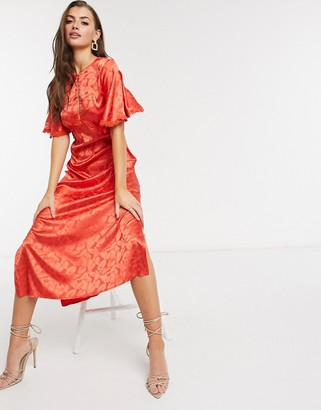 Little Mistress satin midaxi dress in deep orange