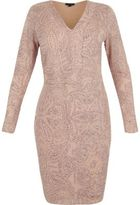 River Island Womens RI Plus pink glittery plunge bodycon dress