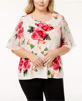 Calvin Klein Plus Size Smocked-Sleeve Top