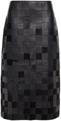 Gabriela Hearst Kiara Paneled Leather And Silk-velvet Skirt