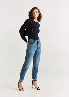 MANGO Ribbed metallic sweater night blue - XS - Women
