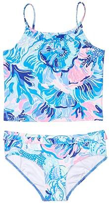 Lilly Pulitzer Emiko UPF 50+ Tankini (Toddler/Little Kids/Big Kids) (Saltwater Blue Shade Seekers) Girl's Swimwear Sets