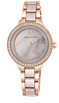 Anne Klein Women's AK/1418RGTP Swarovski Crystal Accented Rose Gold-Tone and Taupe Ceramic Bracelet Watch