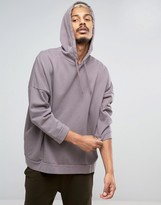 Asos Mid Oversized Hoodie With Wash & 3/4 Sleeves