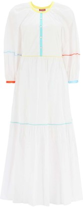 STAUD DEMI COTTON DRESS WITH PIPING 2 White Cotton