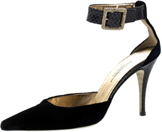 Dolce & Gabbana Blue Velvet And Python Ankle Strap Sandals Size 36