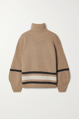 Loro Piana Oversized Striped Cashmere Turtleneck Sweater - Camel