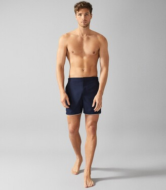 Reiss Presley - Swim Shorts With Side Adjusters in Navy