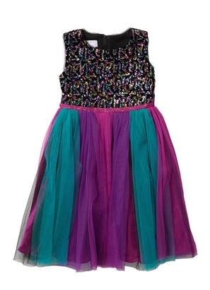 Iris & Ivy Multi-Colored Bright Sequin Bodice Mesh Hem Dress (Big Girls)