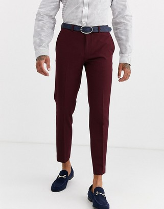 Burton Menswear skinny fit trousers in burgundy-Red