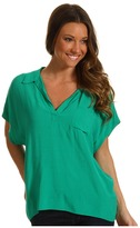 Vince Camuto TWO by Mixed Media Collared Tee (Greenleaf) - Apparel