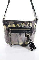 L.A.M.B. Purple Multi-Color Abstract Leather Small Crossbody Handbag