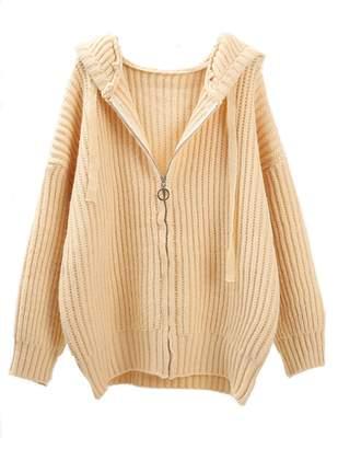 Goodnight Macaroon 'Kubi' Hooded Ribbed Zip Up Oversized Cardigan (3 Colors)