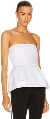 Cushnie Strapless Peplum Corset Top in White | FWRD