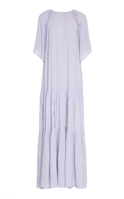 By Ti Mo Tiered Crepe Maxi Dress