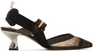 Fendi Black Forever Colibri 55 Slingback Heels