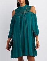 Charlotte Russe Crochet-Yoke Cold Shoulder Shift Dress