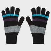 Paul Smith Men's Black Striped Lambswool Gloves