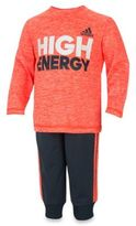 "adidas 2-Piece ""High Energy"" Shirt and Pant Set in Red"