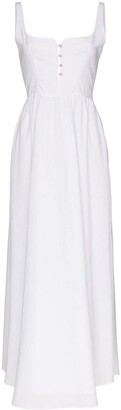 Esteban Cortazar Pleated Cotton Midi Dress