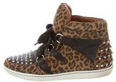 Sandro Leopard High-Top Sneakers