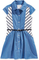 Sean John Belted Denim & Mesh Shirtdress, Big Girls (7-16)