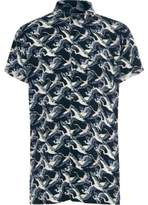 River Island Boys navy crane bird print short sleeve shirt