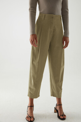 Cos Cotton Wide-Leg Pleated Cord Trousers