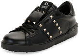 Valentino Rockstud Untitled Men's Leather Low-Top Sneaker, Black