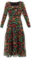 Saloni Misha Floral-print Silk-chiffon Midi Dress - Womens - Black Multi