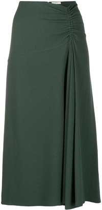 Vince Gathered-Detail Midi-Skirt