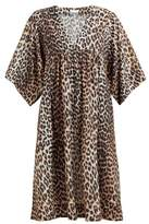 Ganni Leopard-print Cotton-blend Dress - Womens - Leopard